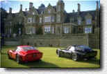 Classic British architecture meets classic Italian design: Two 250 GTOs in front of Brandon Wang's marvelous manor.