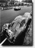 Le Mans 24h 1966: Scarfiotti crashed heavily into the barriers with the 330 P3 s/n 0848. He had gone of the road at the Tertre-Rouge with the car he shared with Mike Parkes.