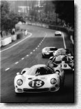 Le Mans 24h 1966: The 365P2 s/n 0838 of the N.A.R.T. got a new body from Drogo for the '66 season. The car with it's long tail was nicknamed White Elephant. At Le Mans, Masten Gregory and Bob Bondourant retired in the 9th hour.