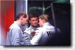 Adrian Newey with David Coulthard and Mika Hakkinen