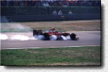 Jacques Villeneuve is hard on the brakes in his Williams