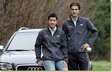 Audi driver Lucas Luhr and Mike Rockenfeller