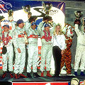 Allan McNish, Michele Alboreto, Rinaldo Capello, the Winning Team -  Frank Biela, Emanuele Pirro and Tom Kristensen, the Sebring Race Queen, Joerg Mueller and J.J. Lehto