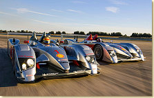 "The two Audi R10 cars at the ""Sebring Winter Test"""