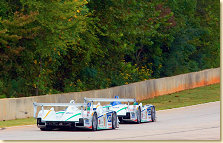 ADT Champion Audi R8s race up Road Atlanta's back straight