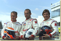 Champion Racing drivers Johnny Herbert, Rallf Kelleners and Didier Theys (from left)