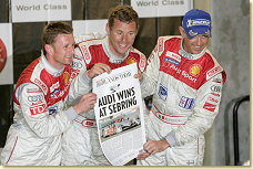 Allan McNish, Tom Kristensen and Dindo Capello on the podium