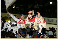 Allan McNish, Tom Kristensen and Dindo Capello celebrate their victory