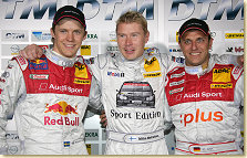 Mattias Ekström (left) and Christian Abt (right) with Mika Häkkinen