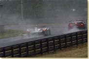 The Champion Racing Audi R8 in torrential rain which caused extremely difficult driving conditions