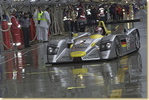 The first half of the race was characterised by torrential rain. This image shows Rinaldo Capello in the Infineon Audi R8 (#2)
