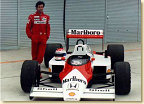 Since 1988, Emanuele was McLaren's Formula 1 test driver for several years. He did much testing at Suzuka. Pirro is shown here aside of the first McLaren equipped with a Honda engine, an MP4/3 that had been powered originally by TAG-Porsche.