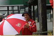Singing in the rain........Audi's answer to Gene Kelly.........Kyle Chura .......... Press Officer Audi Sport North America