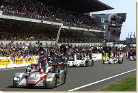Emanuele Pirro celebrates his third consecutive win at Le Mans, Photo Audi Press