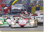 The Le Mans winning Audi R8 #1, driven by Frank Biela, Tom Kristensen and Emanuele Pirro, followed by the #2 Audi R8 and the #8 Bentley