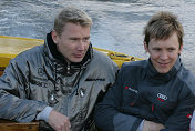 Mattias Ekström (center) with Mika Häkkinen
