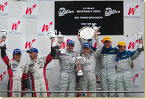 The rostrum in Spa. From left: Seiji Ara and Rinaldo Capello (second place), Jamie Davies and Johnny Herbert (winner)